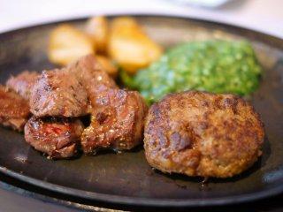 ジューシーな肉汁たっぷり!贅沢空間で味わうステーキ&ハンバーグランチ